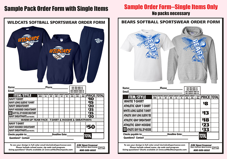 Risk free apparel softball team packs for How to make money selling custom t shirts